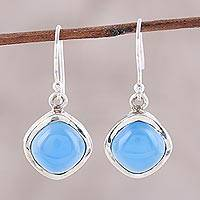 Chalcedony dangle earrings, 'Sky Gleam' - Blue Chalcedony Dangle Earrings Crafted in India
