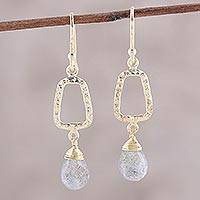 Gold plated labradorite dangle earrings, 'Dancing Frames' - 18k Gold Plated Labradorite Dangle Earrings from India