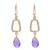 Gold plated amethyst dangle earrings, 'Dancing Frames' - 18k Gold Plated Amethyst Dangle Earrings from India (image 2a) thumbail