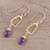 Gold plated amethyst dangle earrings, 'Dancing Frames' - 18k Gold Plated Amethyst Dangle Earrings from India (image 2b) thumbail