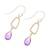 Gold plated amethyst dangle earrings, 'Dancing Frames' - 18k Gold Plated Amethyst Dangle Earrings from India (image 2c) thumbail