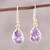 Gold plated amethyst dangle earrings, 'Fantastic Drops' - Gold Plated 4-Carat Amethyst Dangle Earrings from India thumbail