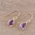 Gold plated amethyst dangle earrings, 'Fantastic Drops' - Gold Plated 4-Carat Amethyst Dangle Earrings from India (image 2b) thumbail