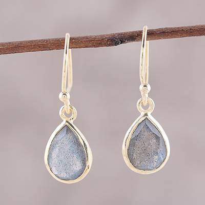 Gold plated labradorite dangle earrings, Fantastic Drops