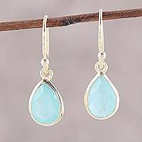 Gold plated chalcedony dangle earrings, 'Fantastic Drops' - Gold Plated 4-Carat Chalcedony Dangle Earrings from India
