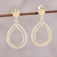 Gold plated sterling silver dangle earrings, 'Rope Drops' - 18k Gold Plated Sterling Silver Dangle Earrings from India