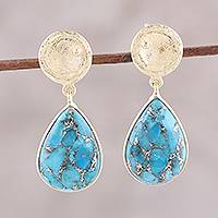 Gold plated sterling silver dangle earrings, 'Silver Turquoise Drops' - Gold Plated Sterling Silver and Composite Turquoise Earrings