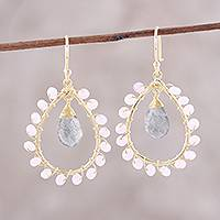 Gold plated labradorite and rose quartz dangle earrings,