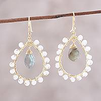 Gold plated labradorite and rainbow moonstone dangle earrings,