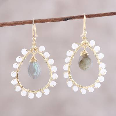 Gold plated labradorite and rainbow moonstone dangle earrings, 'Majestic Bliss' - Gold Plated Labradorite and Rainbow Moonstone Earrings