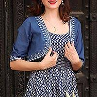 Cotton bolero, 'Zari Elegance in Indigo' - Cotton Bolero in Indigo with Zari Embroidery from India
