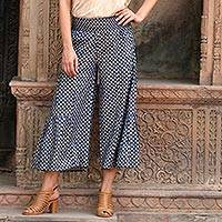 Viscose pants, 'Floral Comfort' - Printed Floral Viscose Pants in Blue from India