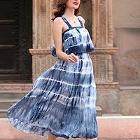 Tie-dyed cotton dress, 'Summer Fantasy' - Tie-Dyed Striped Cotton Dress in Navy from India