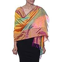 Ikat silk scarf, 'Ikat Sweetness' - Ikat Tie-Dyed Silk Scarf Handwoven in India