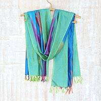 Ikat silk scarf, 'Ikat Flavor' - Multicolored Ikat Silk Scarf Handwoven in India