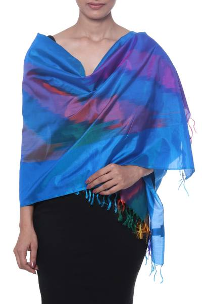 Ikat silk scarf, 'Ikat Delicacy' - Handwoven Ikat Silk Scarf Crafted in India