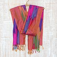 Ikat silk scarf, 'Ikat Delight' - Striped Ikat Silk Scarf Handwoven in India