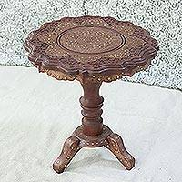 Wood accent table, 'Floral Royalty' - Floral Mango Wood Accent Table with Brass Inlay from India