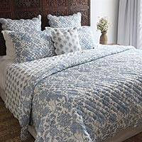 Cotton block print quilt set, 'Bombay Toile' (3 pieces) - India Hand Stitched Cotton Block Print Quilt and 2 Shams Set