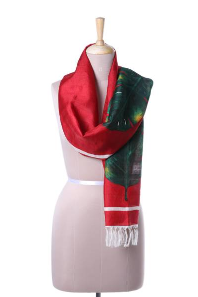Silk scarf, 'Bengal Wedding' - Handwoven Leaf Motif Silk Scarf from India