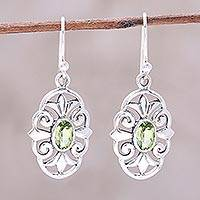 Peridot dangle earrings, 'Green Enchantment' - Peridot and 925 Sterling Silver Dangle Earrings from India