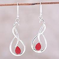 Ruby dangle earrings, 'Fiery Dance' - Swirl Motif Ruby Dangle Earrings from India
