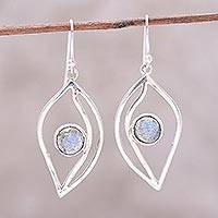 Labradorite dangle earrings, 'Leafy Glimmer' - Leaf-Shaped Labradorite Dangle Earrings from India
