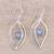 Labradorite dangle earrings, 'Leafy Glimmer' - Leaf-Shaped Labradorite Dangle Earrings from India (image 2b) thumbail