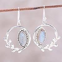 Labradorite dangle earrings, 'Peaceful Wreaths' - Wreath Motif Labradorite Dangle Earrings from India