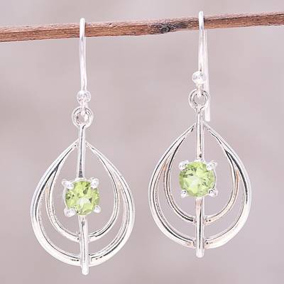 Peridot dangle earrings, 'Glossy Drops' - Drop-Shaped Peridot Dangle Earrings from India