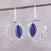 Lapis lazuli dangle earrings, 'Peaceful Wreaths' - Wreath Motif Lapis Lazuli Dangle Earrings from India