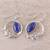Lapis lazuli dangle earrings, 'Peaceful Wreaths' - Wreath Motif Lapis Lazuli Dangle Earrings from India (image 2b) thumbail