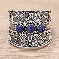 Lapis lazuli cocktail ring, 'Antique Elegance' - Lapis Lazuli Triple Stone Cocktail Ring from India