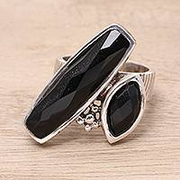 Onyx cocktail ring, 'Contemporary Mystic' - Black Onyx Two-Stone Cocktail Ring from India