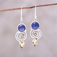 Citrine and lapis lazuli dangle earrings, 'Majestic Spirals' - Citrine and Lapis Lazuli Spiral Earrings from India
