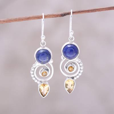 Citrine and lapis lazuli dangle earrings, Majestic Spirals