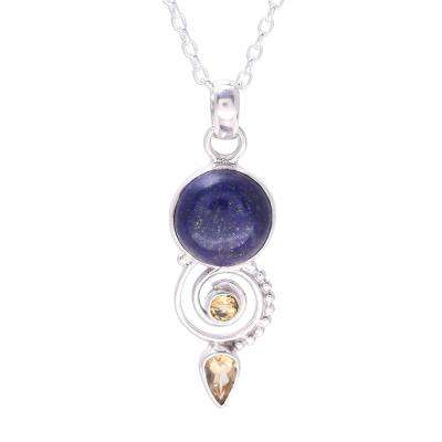 Citrine and lapis lazuli pendant necklace, 'Majestic Spiral' - Citrine and Lapis Lazuli Spiral Necklace from India