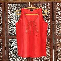 Cotton blouse, 'Stylish Strawberry' - Embellished Cotton Blouse in Strawberry from India
