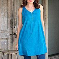 Cotton tunic, 'Azure Summer' - Glass Beaded Cotton Tunic in Azure from India