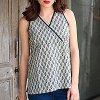 Cotton blouse, 'Summer Sage' - Block-Printed Cotton Blouse in Sage and Black from India