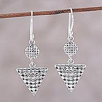 Sterling silver dangle earrings, 'Mosaic of Geometry' - Geometric Sterling Silver Dangle Earrings from India