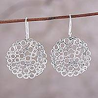 Sterling silver dangle earrings, 'Effervescent Bubbles' - Sterling Silver Circle Motif Dangle Earrings from India