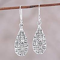 Sterling silver dangle earrings, 'Woven Dew' - Sterling Silver Basketweave Dangle Earrings from India