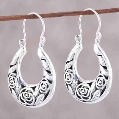 Sterling silver hoop earrings, 'Ring Around the Roses' - Sterling Silver Three Rose Hoop Earrings from India