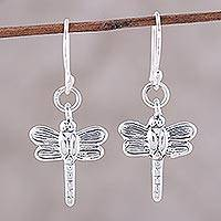 Sterling silver dangle earrings, 'Dainty Dragonflies' - Sterling Silver Dragonfly Dangle Earrings from India