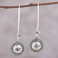 Sterling silver dangle earrings, 'Floral Coin' - Sterling Silver Dotted Floral Medallion Dangle Earrings