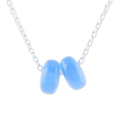 Chalcedony Double Disc and Sterling Silver Pendant Necklace