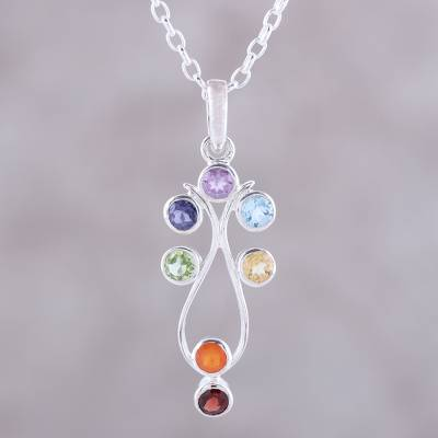 Multi-gemstone pendant necklace, 'Wellspring of Energy' - Sterling Silver and Multi-Gemstone Chakra Pendant Necklace