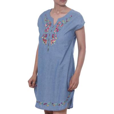 Cotton dress, 'Spring Rejoice' - Blue Cotton Embroidered Short Sleeved Casual Dress