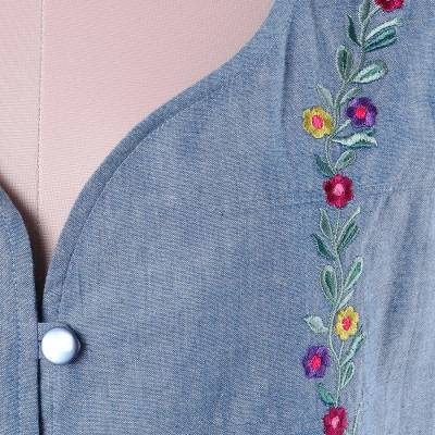 Cotton vest, 'Spring Celebration' - Handcrafted Blue Cotton Floral Embroidered Vest with Pockets